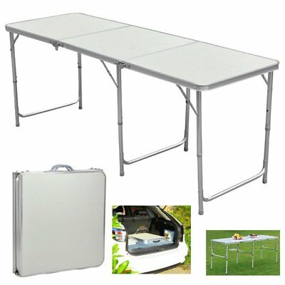 6 FT Portable Folding Trestle Table Heavy Duty Plastic Camping Party Picnic BBQ • 30.99£