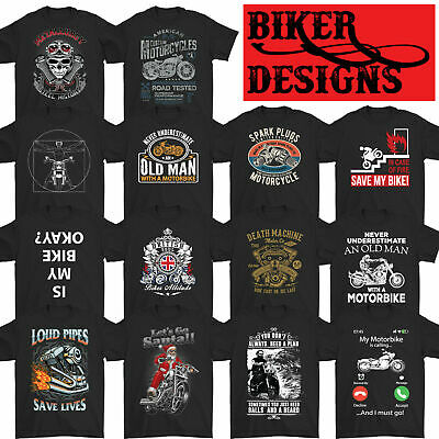 BIKER T-SHIRT Motorbike Motorcycle Cafe Racer Chopper Bike Mens Funny Skull Top • 7.99£