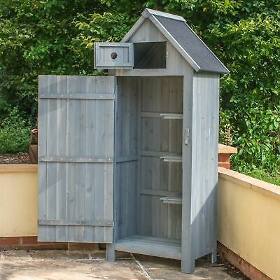 Wooden Outdoor Garden Shed Storage Cupboard Apex Roof Tool Cabinet Shelves Hut • 129.95£