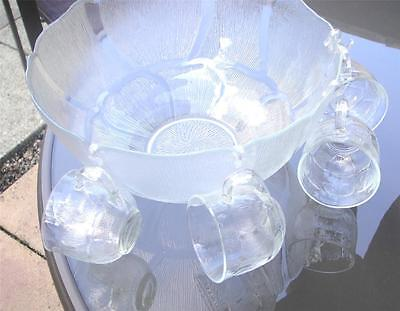 Glass Moulded Punch Bowl Eight Glasses Plus Ladle ~ ~france Quality • 75£