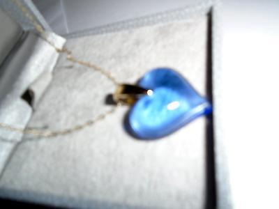 Pendant Lalique Heart Blue 9ct Gold Chain Gift /investment Outstanding • 149.99£