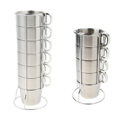 £24.60 • Buy Stackable Mugs Tower Cup Set Stainless Steel Tea Cups With Stand Holder Rack