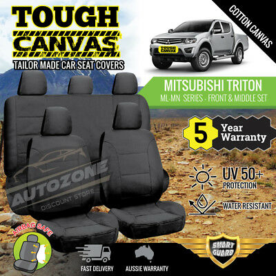 AU219 • Buy Canvas Seat Covers For Mitsubishi Triton ML MN Series Dual Cab 06/2006 - 2015