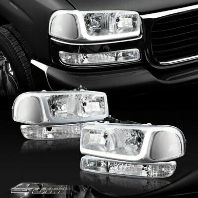 $138.88 • Buy For 1999-2006 GMC Sierra 1500 2500 DRL LED Chrome Clear Headlights+Bumper Lamps