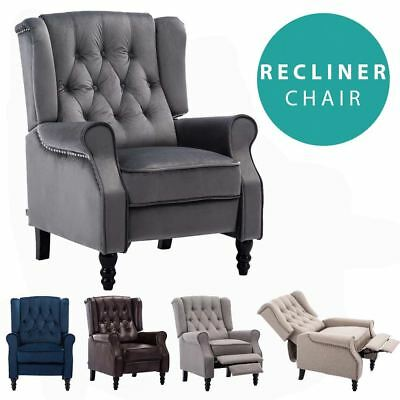 £229.99 • Buy Althorpe Wing Back Recliner Chair Fabric Button Fireside Occasional Armchair