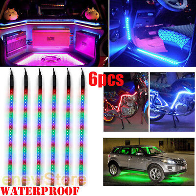 $10.59 • Buy 6X RGB 32LED/12  Flexible Light Strip For Car Boat Truck DRL Waterproof DC 12V