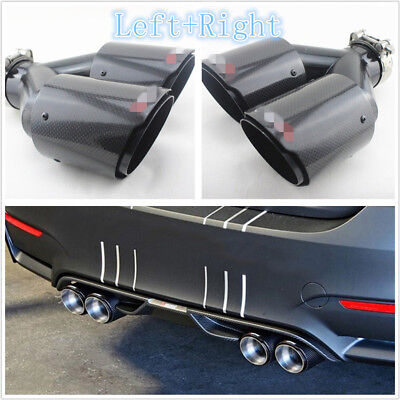 $ CDN169.11 • Buy Left+Right Real Carbon Fiber 63-89mm Automobiles Dual Exhaust Pipe Plating Black