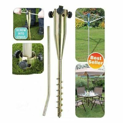 £16.95 • Buy Heavy Duty Screw In Metal Ground Spike For Rotary Washing Line Or Parasol