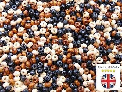 £1.75 • Buy 4mm Wooden Rondelle Mix Seed Bead Style Spacer Jewellery Beads Craft Beading ML