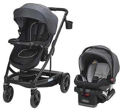 Graco Baby UNO2DUO Travel System Stroller With SnugLock 35 Infant Car Seat Reese • 274.96£