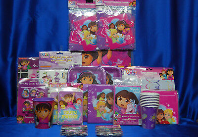 Dora The Explorer Party Set # 29 Cups Plates Napkins Tablecover Invites Thanks + • 27.97£