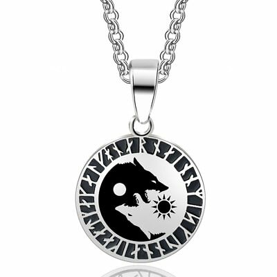 AU21.87 • Buy Yin Yang Wolf Sun Moon Stainless Steel Norse Vikings Necklace