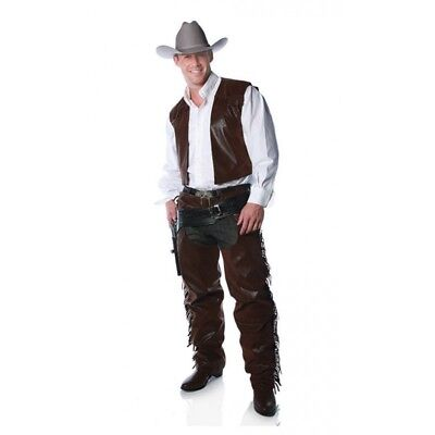 $29.99 • Buy Western Brown Faux Leather Cowboy Fringed Chaps & Vest Costume Outfit Adult Men
