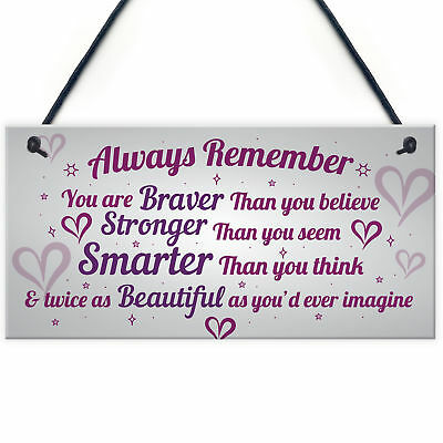 £3.99 • Buy Stronger Inspirational Wall Plaque Friendship Gifts Quote Heart Friend Love Sign