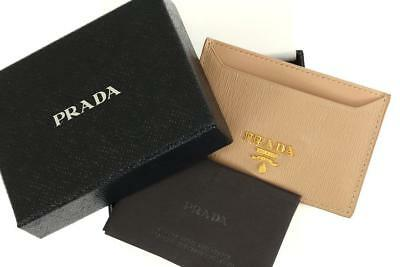 a56a418a17c0 New Prada Milano Beige Textured Leather Logo Credit Card Holder Case Wallet  • 174.99$