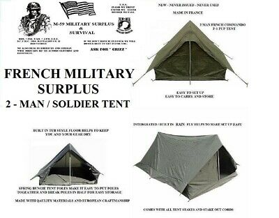 $60.99 • Buy NEW  French Military Surplus 2 Man F1 Pup Tent Backpacking Shelter Integral Fly