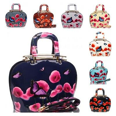 £19.99 • Buy UK New Women's Patent Poppy Butterfly Print TopHandle Tote Bag With Metal Hinges