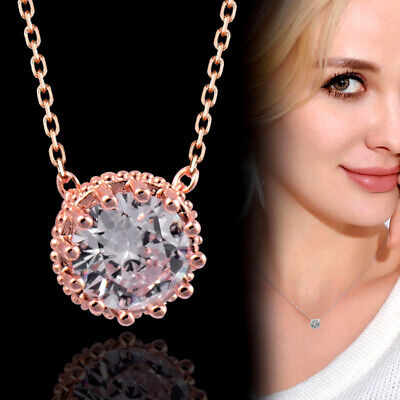 AU5.77 • Buy Simple White Circular Crystal Pendant Necklace For Women Party Jewellery
