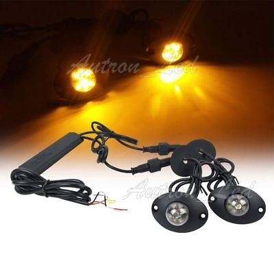 $35.99 • Buy 2In1 Hide Away Amber 12W LED Patrol Emergency Beacon Warning Side Strobe Lights