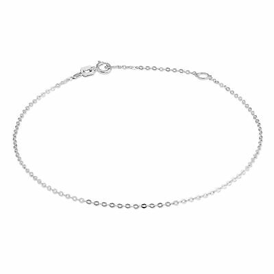 £24 • Buy 9ct White Gold Hammered Trace Chain Bracelet 7 - 8 Inches