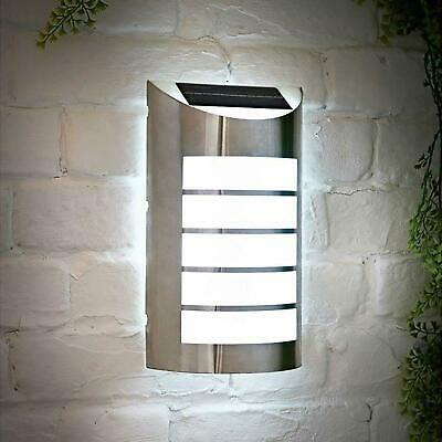 Stainless Steel Outdoor Led Solar Powered Soho Wall Light Security Lights • 14.95£