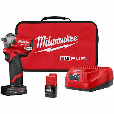 Milwaukee Electric Tool 2554-22 M12 Fuel Stubby 3/8  Impact Wrench Kit • 246.99$