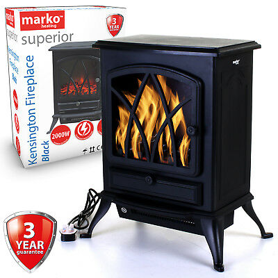 Electric Fireplace Black 2000W Heater Log Burning Flame Effect Stove Living Room • 74.99£