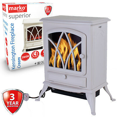 Electric Fireplace Cream 2000W Heater Log Burning Flame Effect Stove Living Room • 79.99£