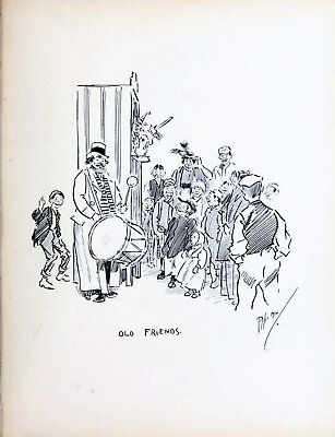 OLD FRIENDS 1896 PHIL MAY Gutter-Snipes Punch And Judy Drum VICTORIAN CARTOON • 29.50£