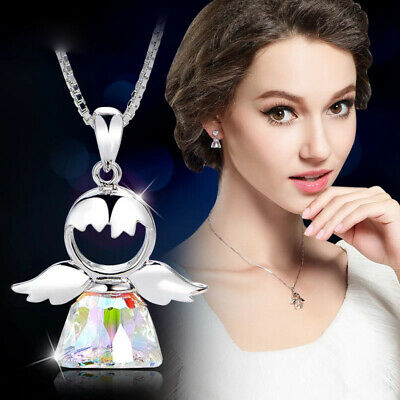 AU9.31 • Buy Multicolor Crystal Angel Shape Pendant Necklaces For Women Party Jewellery