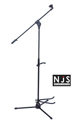 NJS Music DJ Microphone Stand With Boom Arm, Tripod Base And Guitar Holder Stand • 15.99£