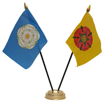 Yorkshire & Lancashire County Deluxe Double Friendship Table Flag • 5.99£