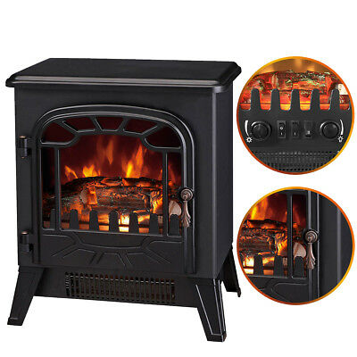 1850W Log Burning Flame Effect Stove Electric Fireplace Fire Heater Freestanding • 72.99£