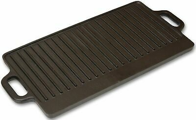 Andes Cast Iron Double Sided Ribbed Grill Pan Camping BBQ Skillet/Griddle • 19.99£