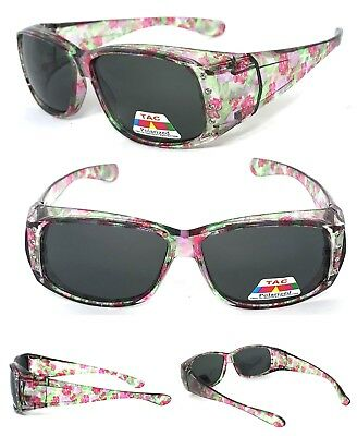 Womens FIT OVER Sunglasses Cover Rx Glasses Polarized Lens UV400 Pink Floral • 9.03£