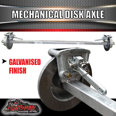 AU490 • Buy Galvanised 45mm Square Mechanical Disc Braked Trailer Axle. 1400Kg Rated 64 -77