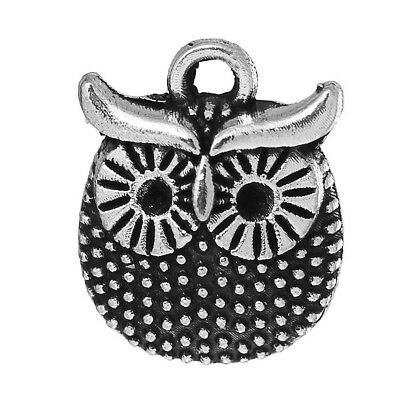 20 Owl Charms Bird Amimal Pendants Antique Silver Tone 16mm X 12mm J64114E • 2.99£