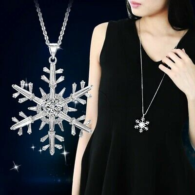 AU7.08 • Buy Cubic Zirconia Snowflake Pendant Necklaces For Women Jewelry Christmas Gift