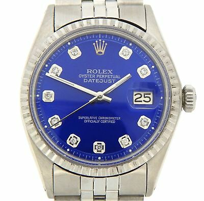 $ CDN5526.91 • Buy Rolex Datejust Mens Stainless Steel Watch With Submariner Blue Diamond Dial 1603