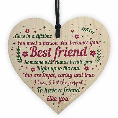 £3.99 • Buy Best Friend Birthday Gifts Thank You Wooden Hanging Heart Friendship Plaque Sign