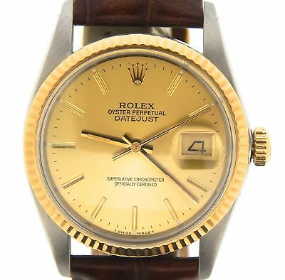 $ CDN5747.39 • Buy Rolex Datejust 16013 Mens Stainless Steel 18K Gold Watch Champagne Dial Brown