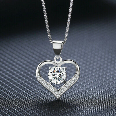 £3.97 • Buy Heart Crystal Pendant 925 Sterling Silver Chain Necklace Womens Ladies Jewellery