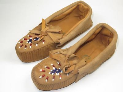 VINTAGE NATIVE AMERICAN INDIAN Pair Of Child's Moccasins Beaded 1930s • 25£