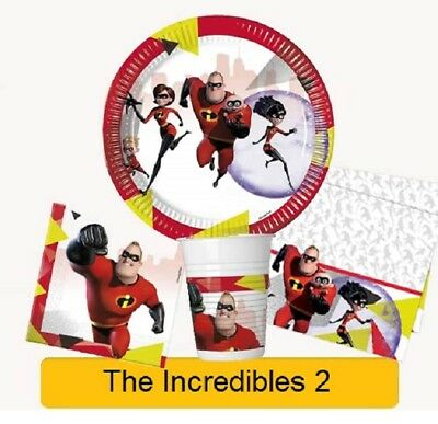 Disney Pixar THE INCREDIBLES 2 Birthday Party - Tableware Decorations Supplies • 2.99£