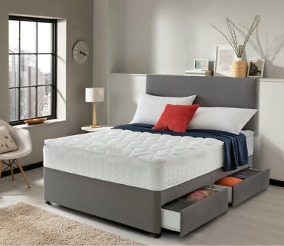£349.99 • Buy SUEDE MEMORY FOAM DIVAN BED SET WITH MATTRESS HEADBOARD SIZE 3FT 4FT6 5FT King