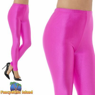 80's Disco Spandex Leggings Neon Pink Womens Ladies Fancy Dress Costume • 8.99£