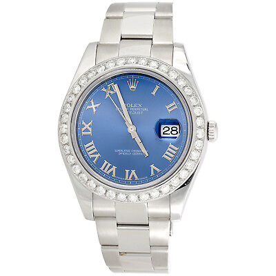 $ CDN13727.34 • Buy Mens 41mm Rolex DateJust II 116334 Diamond Watch Azure Blue Roman Dial 2.75 CT.