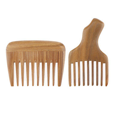 £10.38 • Buy Set Of 2 Handcraft Wooden Pocket Comb Afro Pick Lifting Hairbrush Wide Tooth