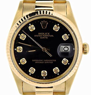 $ CDN11849.38 • Buy Rolex Date 15037 Men Solid 14K Yellow Gold Watch President Style Band Black Dial