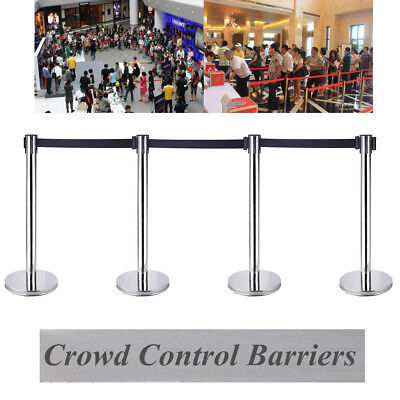 4 X Stainless Crowd Queue Control Safety Barrier Retractable Posts Top Quality • 51.99£